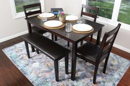 5 Piece Kitchen Dining Table Set Bench Espresso Brown 150232