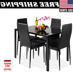 5-Piece Kitchen Dining Table Set w/ Glass Tabletop 4 Faux Le