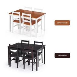 5 Piece Kitchen Table And 4 Persons Chairs Set Dinette Set D