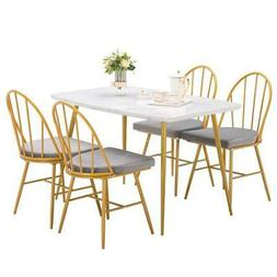 5 Piece Marble Dining Table Set 4 Chairs Kitchen Dining Room