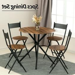 5 Piece Metal Dining Table Set w/ 4 Foldable Chairs Wood Top