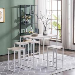 5 Piece Metal Dining Table Set W/ 4 Chairs Wood Dining Room