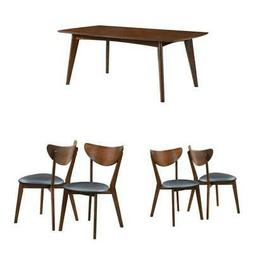 5 Piece Mid Century Modern Dining Table and 4-Chair Set in D