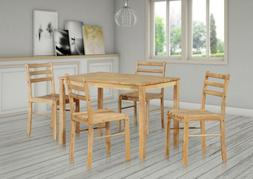 5 Piece Natural Wood Rectangular Dining Dinette Kitchen Tabl