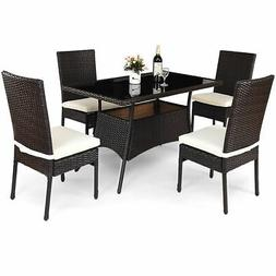 5 Piece Outdoor Patio Furniture Rattan Dining Table Cushione