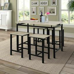 Pub Table Dining Set 5-Piece Counter Height Table Set w/4 Ch