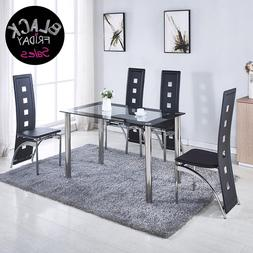 5 Piece Set 4 Black Leather Chairs Dining Table Kitchen Room