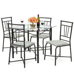 Best Choice Products 5-Piece Square Glass Dining Table Set w