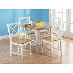 5 Piece White Cross Back Chairs Dining Room Table Set Home K