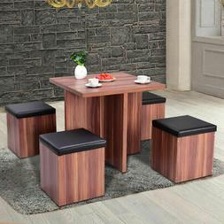 5 Piece Wood Dining Table Set Kitchen Dinette Table Set Stor