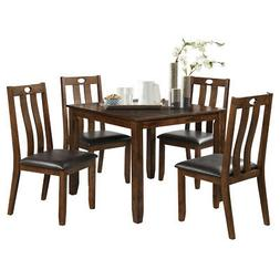 5-Piece Wood Dining Table Set Square Table with 4 Upholstere