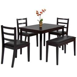 Best Choice Products 5-Piece Wood Dining Table Set w/ Bench,