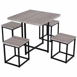 5 Piece Wood Steel Space Saving Dining Room Table Set With S