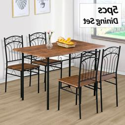 5 Piece Wood White Dining Table Set 4 Chairs Room Kitchen Br