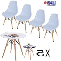 5 Piece Wooden Dining Table Set 4 Chairs Metal Kitchen Room
