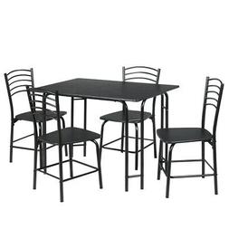 5 Pieces Dining Table and Chair Set Metal Frame Wooden Table