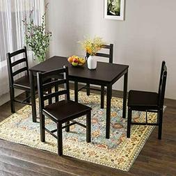 5 Pieces Kitchen Dining Table Set Pine Wood Table w/ 4 PU Le
