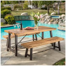 502.3Patio Picnic Table Set Outdoor Wooden Dining Bench Tabl