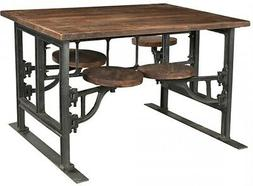 """51"""" L Dining Table 4 Attached Stools Teak Top and Seats Indu"""