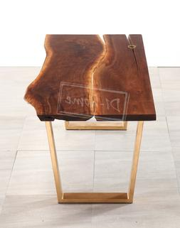 """56"""" Hand Crafted Dining Table Office Walnut Natural Grain Wo"""