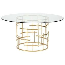 """59"""" W Dining Table Geometric Brushed Gold Stainless Steel Ba"""