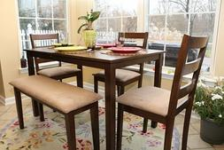 Home Life 5pc Dining Dinette Table Chairs & Bench Set Walnut