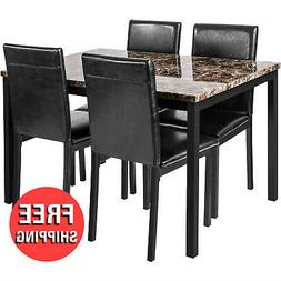 5pc Dining Table Chair Faux Marble Black Leather Set Kitchen