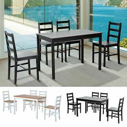 5pc Dining Table Chairs Set Solid Wood Kitchen Breakfast Din