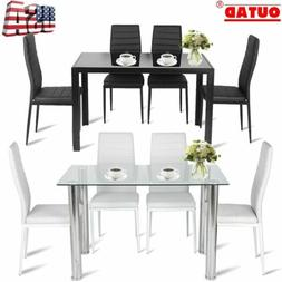 5PC Dining Table Set Modern Kitchen Room Furniture W/ 4 Chai