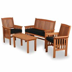 OUTDOOR 4pc Four Person Seating with Bench & 2 Chairs Table