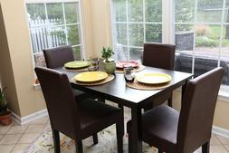 5pc Espresso Dining Room Kitchen Set Table 4 BROWN Leather P