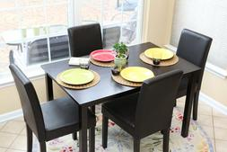 5pc Espresso Dining Room Kitchen Set Table 4 BLACK Leather P