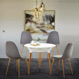 5PC Modern Dining Table Set Grey Fabric Dining Chairs & Roun