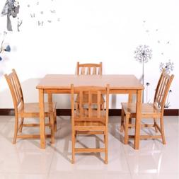 5PCS Bamboo Wood Color Dining Set with 1 Table and 4 Chairs