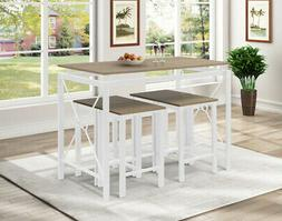 5PCS Dining Set Rectangle Dinning Table with 4 MDF + Steel C
