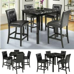 5PCS Dining Table Set 4 Chairs Laminated Faux Marble Kitchen