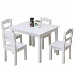 5PCS Kids Wood Dining White Table&Chairs Set Kitchen Dining