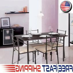5PCS Dining Table with 4 Chairs Set Metal Frame Home Kitchen