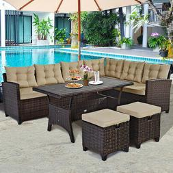 5PCS Patio Rattan Dining Set Cushioned Sofa Ottoman Slat Tab