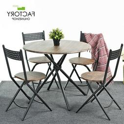 5 Piece Round Dining Table Set 4 Chairs Foldable Wood Brown