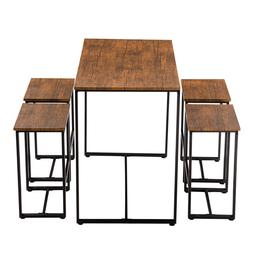 5pcs Set of 1x Dining Table + 4x Chairs Home Kitchen Breakfa