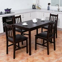 5PCS Solid Pine Wood Dining Set Table and 4 Chairs Home Kitc