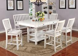 6 PC Charming White Counter Height Dining Table Set Bench St
