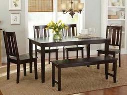 6 Pc Mocha Dining Room Set Kitchen Table Chairs Bench Wood F