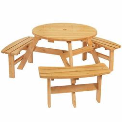 Best Choice Products Outdoor 6 Person Wood Picnic Table Natu