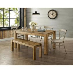 6 Piece Dining Room Table Set Rustic Farmhouse Kitchen Table
