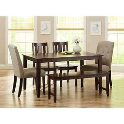 6 Piece Dining Set Beige Upholstered Fabric and Wood Chairs