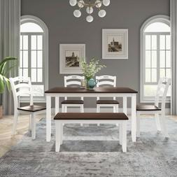 6 piece dining table set with bench