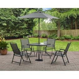 6-Piece Patio Dining Set Folding Chairs Table Decks with Umb