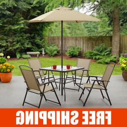 6 Piece Patio Dining Set with Umbrella Outdoor Table Chairs